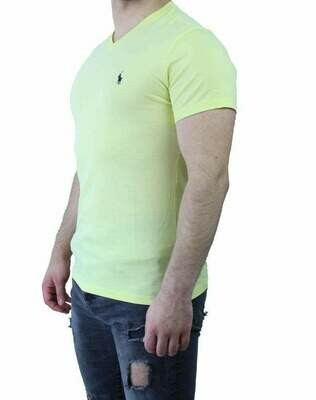 Ralph Lauren V Neck Men's T-Shirt Yellow - Navy