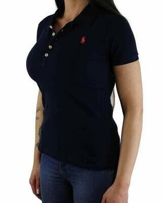 Ralph Lauren Women's Polo Shirts Slim Fit Small Pony Navy