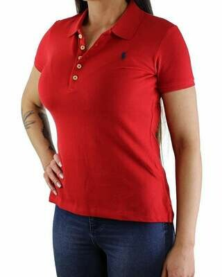 Ralph Lauren Women's Polo Shirts Slim Fit Small Pony Red