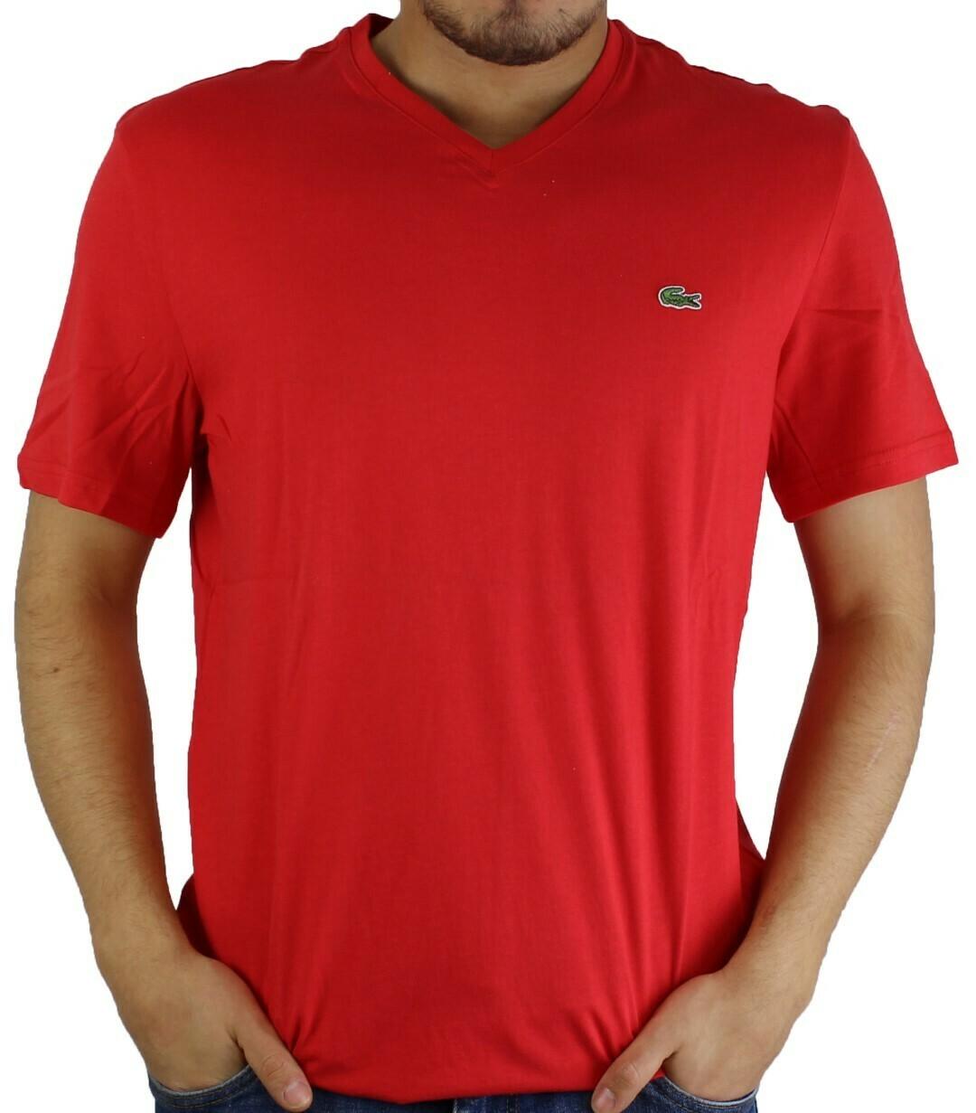Lacoste Men's T-Shirt V Neck Red