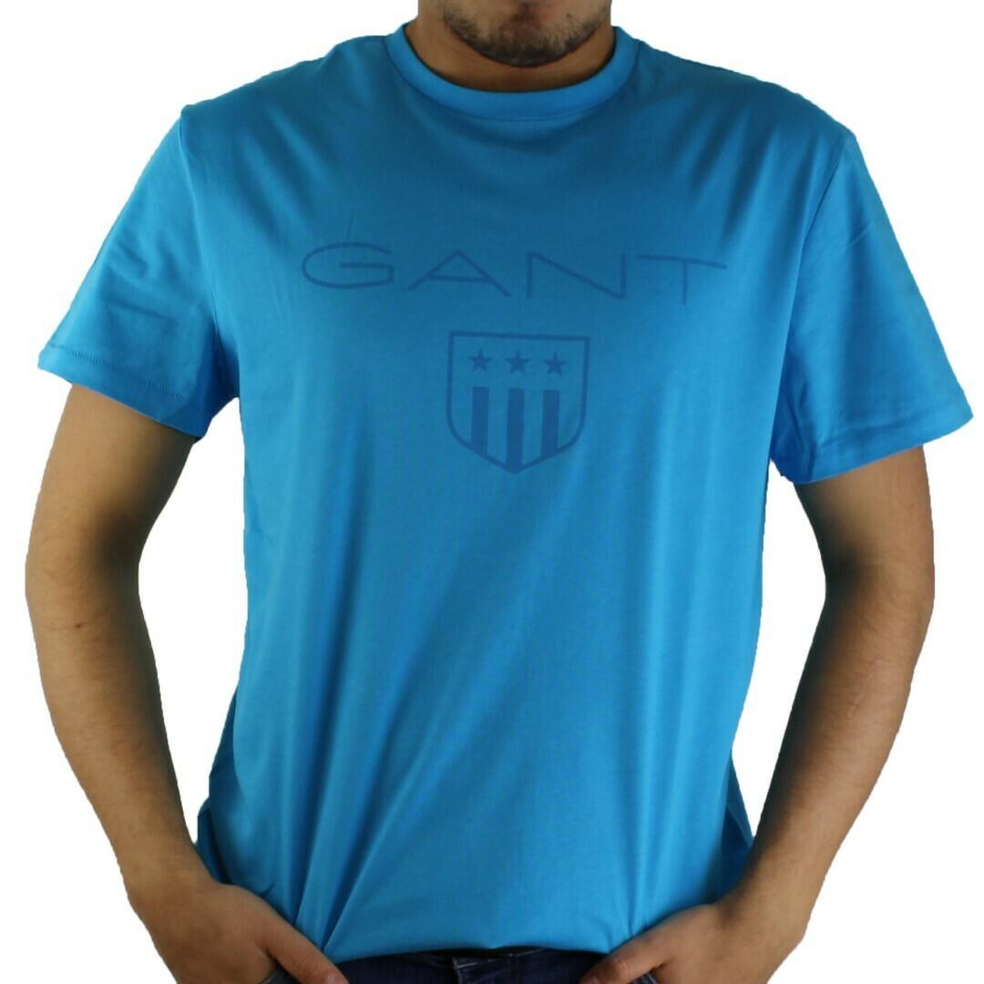 Gant Men's T-Shirts Wappen Türkis