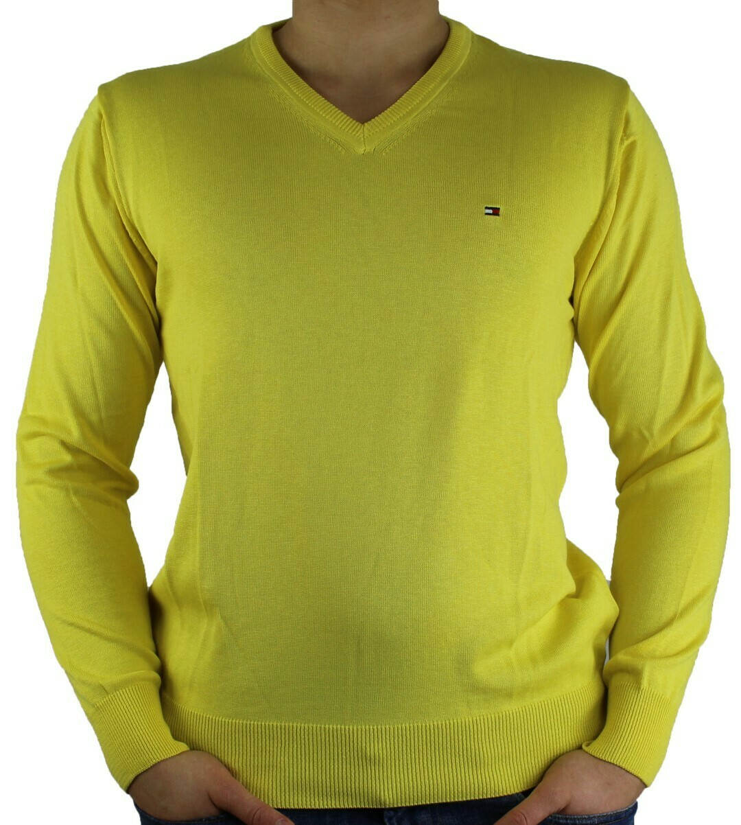 Hilfiger Denim V Neck Men's Pullover Yellow