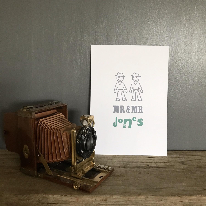 Mr And Mr Personalised Print