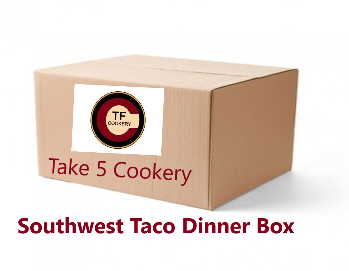 DINNER BOX -  SOUTHWEST STREET TACO DINNER BOX -  This box is going to be awesome! The perfect combination of Carnitas, Tortillas, Corn Salad, Roasted Peppers & Onions, Rice and Churros