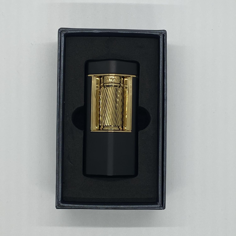 XI-600BKGD Meridian Soft Flame Lighter Matte Black & Gold