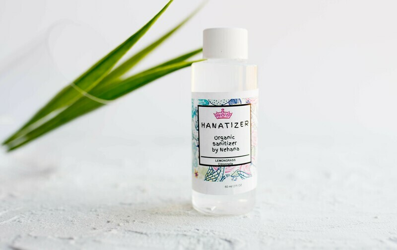 Organic Hand Sanitizer, 85% alcohol, Organic Aloe Vera, Lemongrass- 60ml
