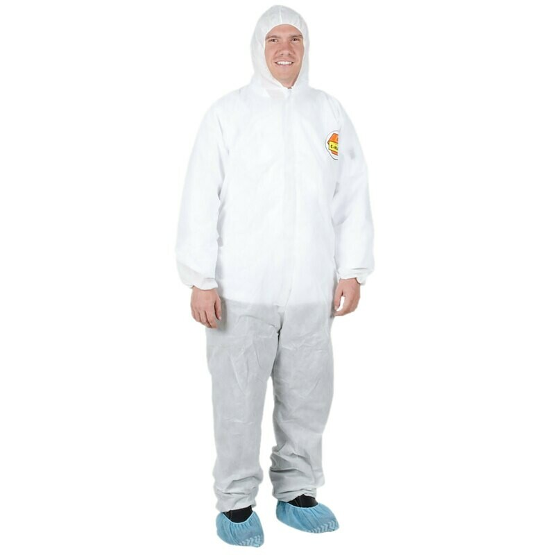 Premium White Disposable Polypropylene Coveralls with Hood – Large