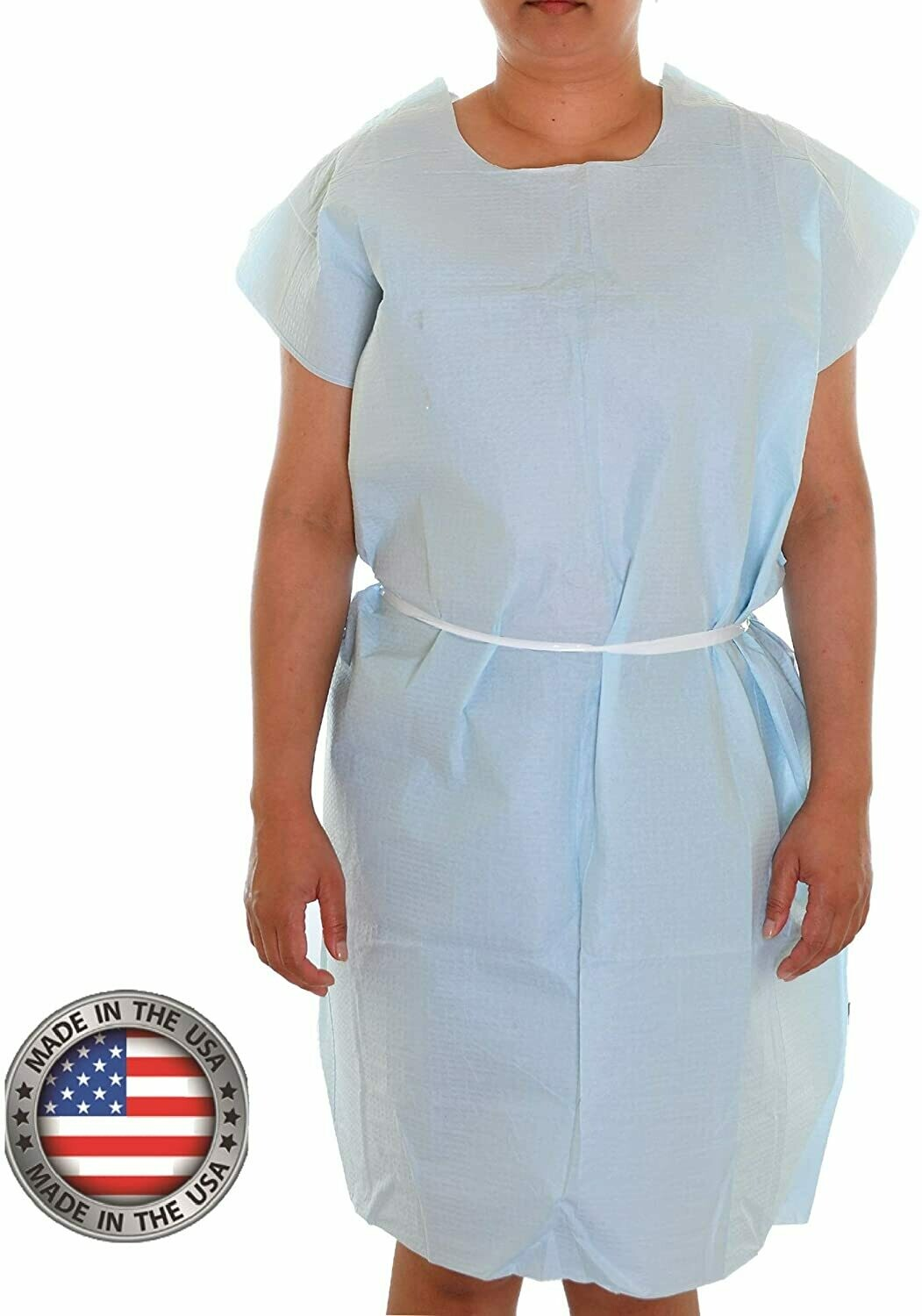 Patient Exam Gowns, Tissue/Poly/Tissue 3-Ply, Latex-Free, Disposable, Universal, 30″ x 42″, Blue-(50/Box)