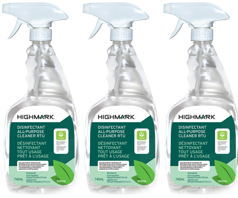 Highmark All Purpose Disinfectant Cleaner, Ready-to-Use Spray, 740 mL (3 Pack)