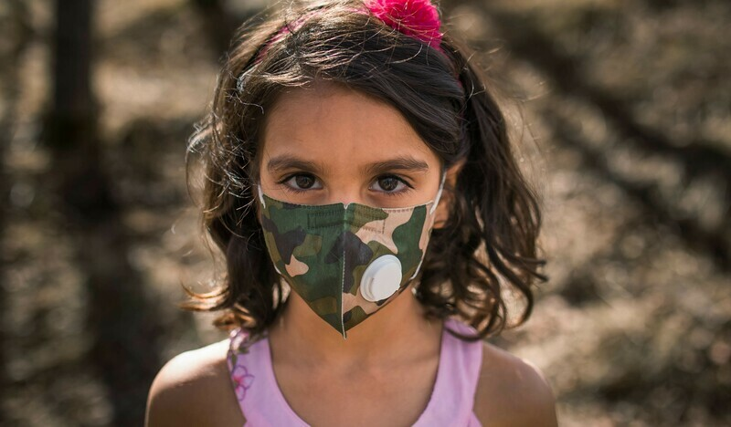 Kids Face Mask Child Mask w/ PM 2.5 Filter | Reusable & Washable -Camo