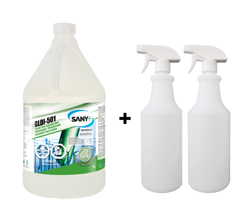 Sany+ General Purpose Hospital Grade Disinfectant Cleaner, Ready-To-Use, 4 L + BONUS Spray Bottle (2 Pack)