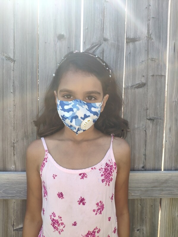 Kids Face Mask Child Mask w/ PM 2.5 Filter | Reusable & Washable | Easy Breathing -Blue Camo