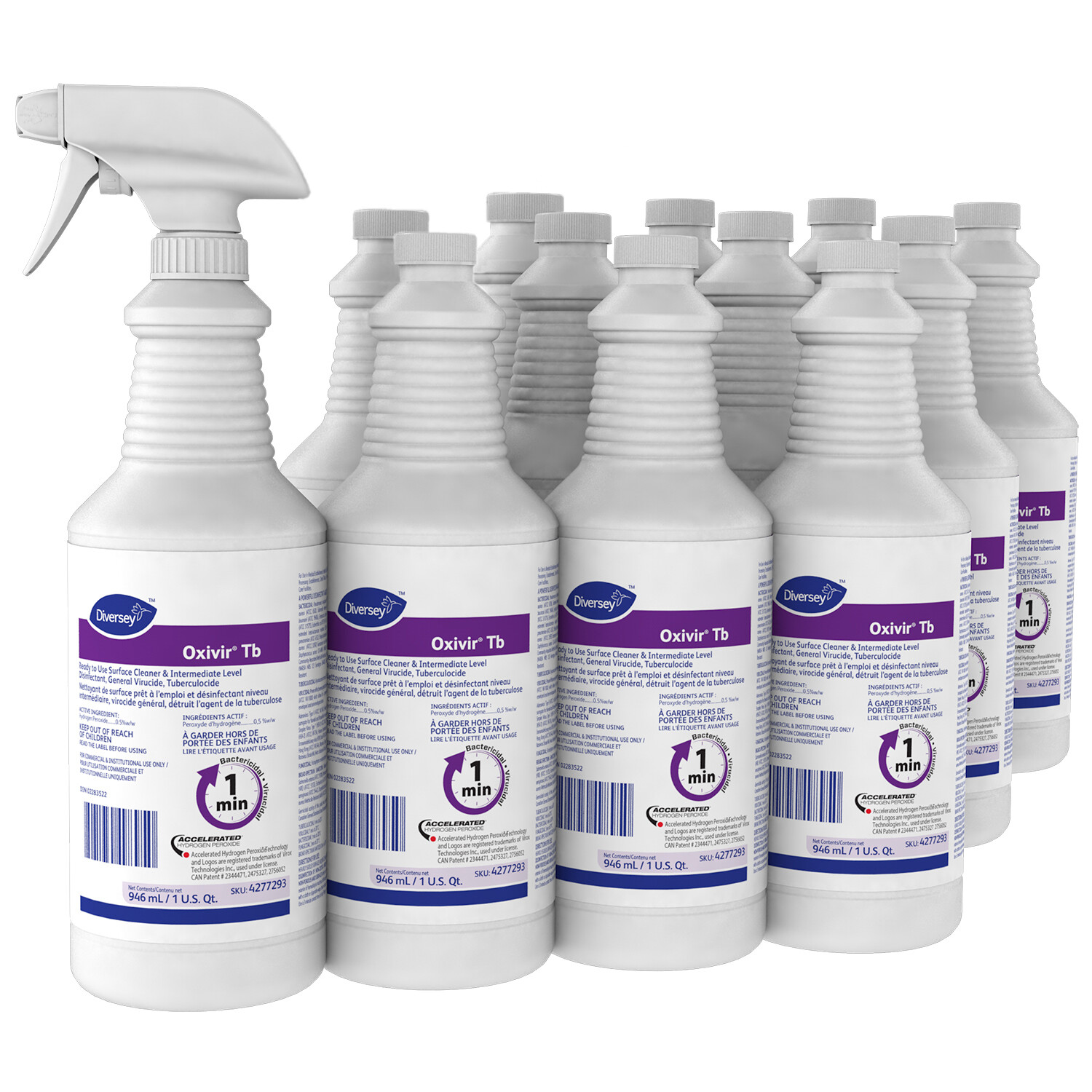 Diversey Oxivir TB Ready-To-Use Disinfectant Cleaner, 946 mL, 12/Case