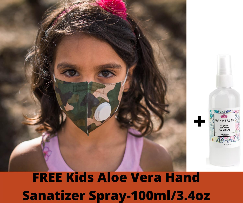 Camo Kids Face Mask Child Mask w/ Filter | Reusable & Washable BONUS Kids Hand Sanitizer
