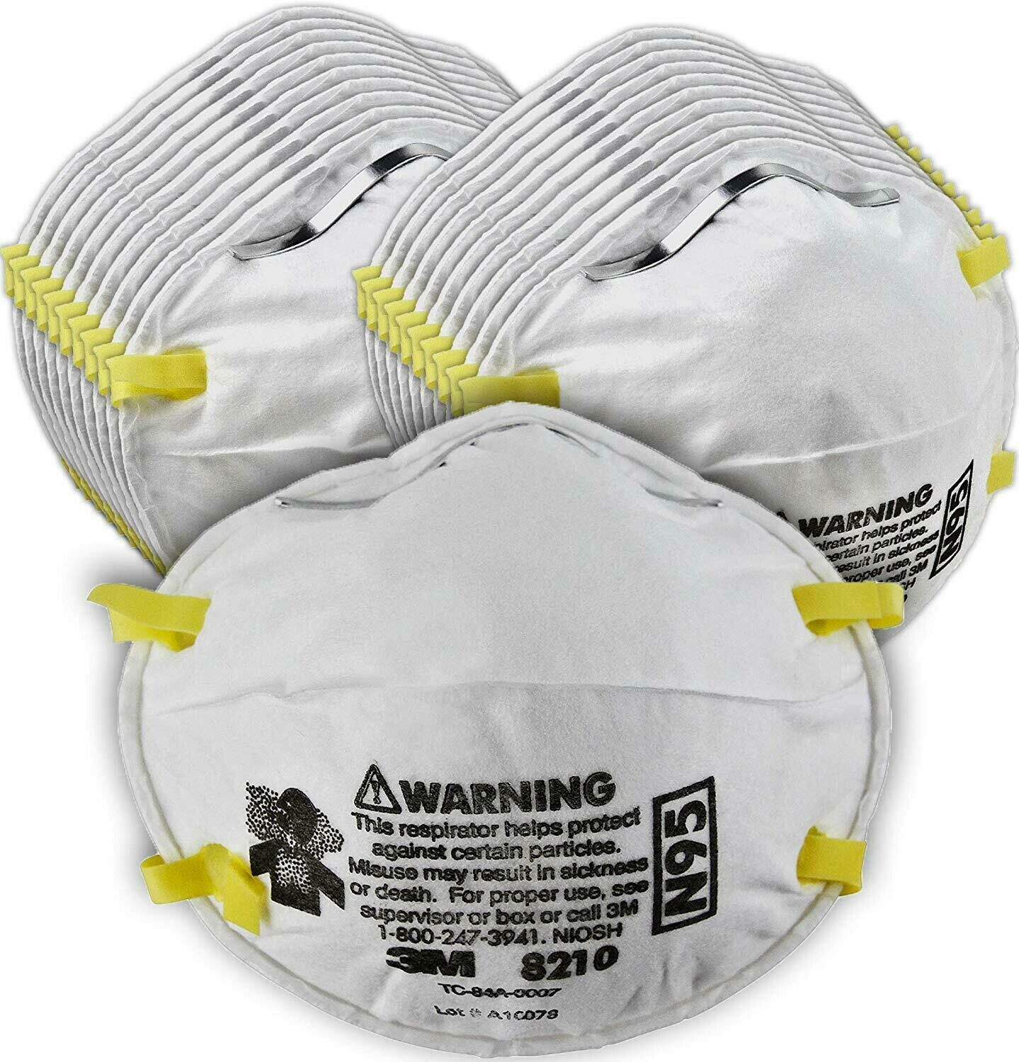 10/Box 3M 8210 N95 Particulate Respirator Face Mask