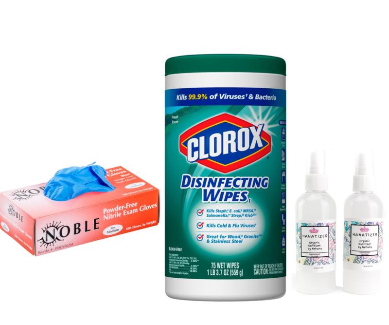 (HYGIENE BUNDLE) Clorox Disinfectant wipes 75 Count | Nitrile Powder free Gloves | 2 x Kids Aloe Vera Hand Santizer Spray-100ml
