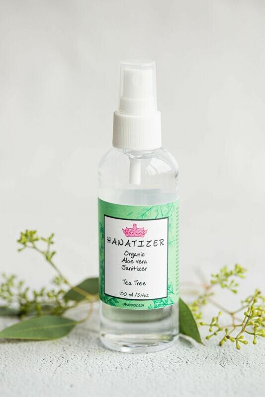 Tea Tree Kids Organic Aloe Vera Hand Sanitizer | Disinfectant 85% alcohol | Antiseptic-100ml/3.4oz