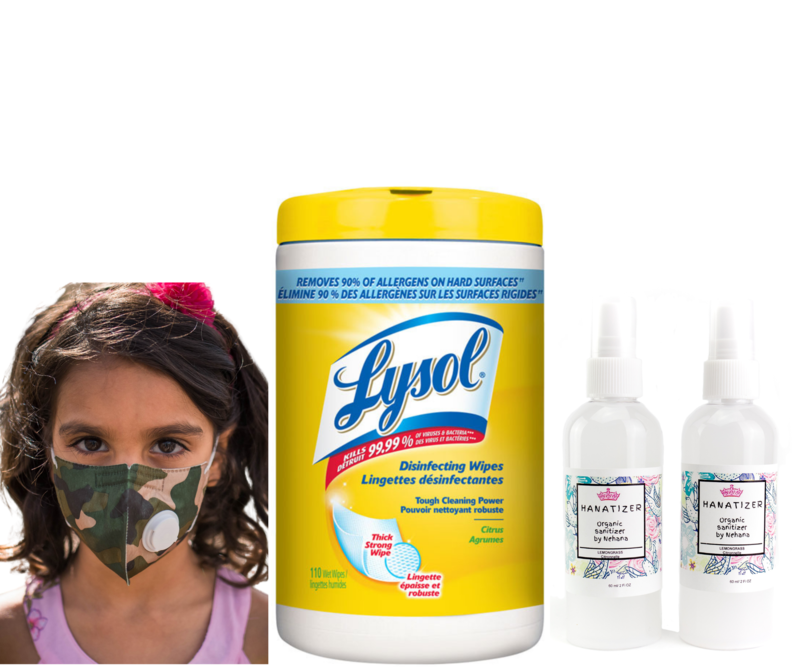[BACK TO SCHOOL] Lysol Disinfectant wipes 80 Count   2 Kids Camo Face Masks   2 x Kids Aloe Vera Hand Santizers Spray 100ml