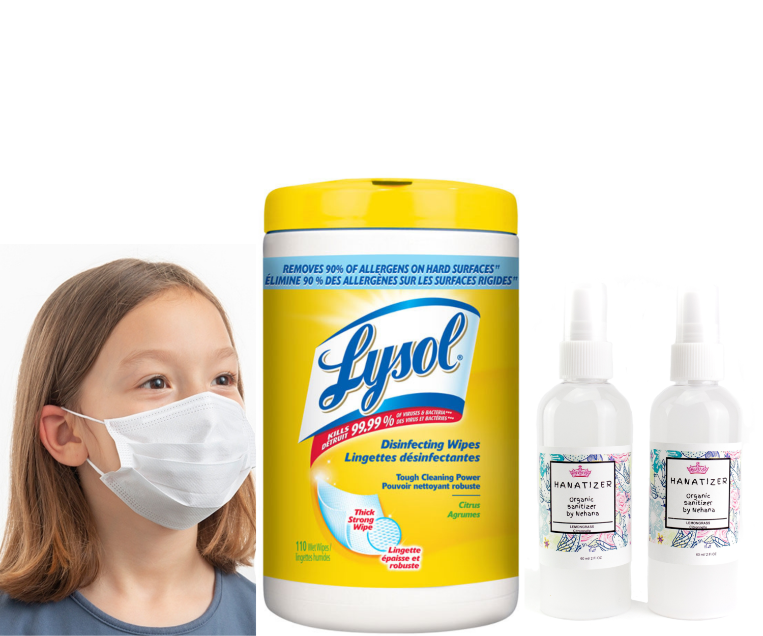 Lysol Disinfectant wipes 80 Count | 50 Kids Face Masks | 2 x Kids Aloe Vera Hand Santizers Spray 100ml