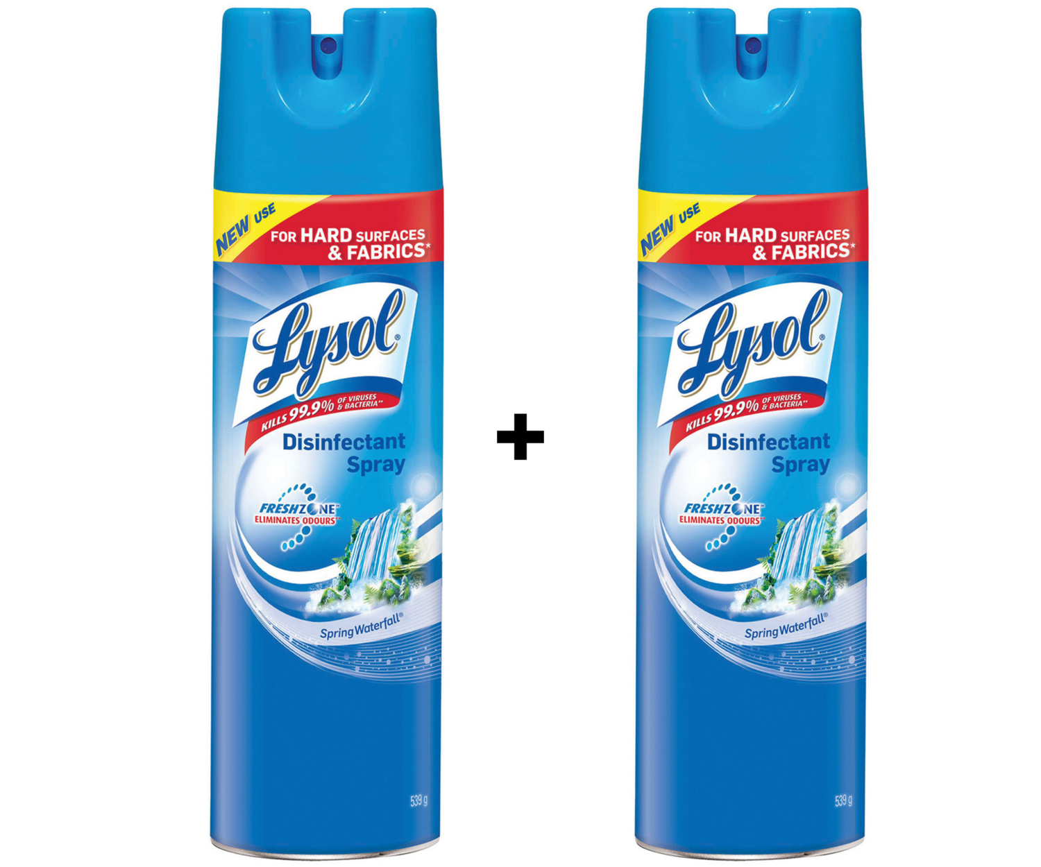 2 x Lysol Disinfectant Aerosol Disinfectant Spray, Spring Waterfall Scent, 539g-