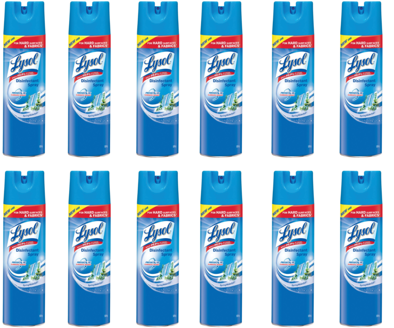 12 x Lysol Disinfectant Aerosol Disinfectant Spray, Spring Waterfall Scent, 539g-