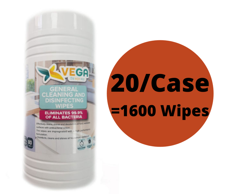20/Case x 80 Count Vega Antibacterial Disinfecting Sanitizing Wipes, Kills 99.9% Germs- Similar to Lysol- Equals to 1600 wipes