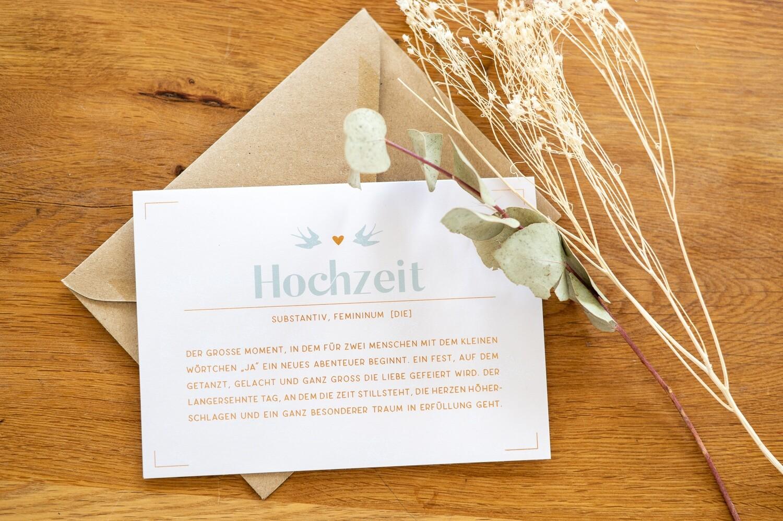 Hochzeitskarte mit Briefumschlag