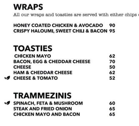Wraps, toasties & trammezinis