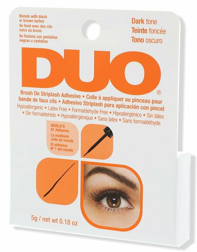 DUO Brush-On Strip Lash Adhesive, Dark Tone, 0.18 Ounce