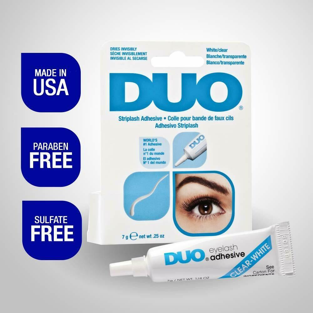 DUO Strip Lash Adhesive White/Clear, for Strip False Eyelash, 0.25 Ounce
