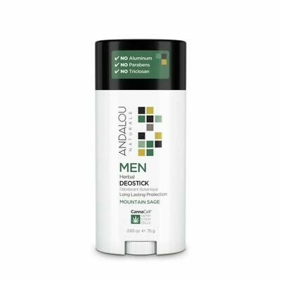 Andalou Naturals CannaCell Men Herbal DeoStick, Mountain Sage, 2.65 Ounce