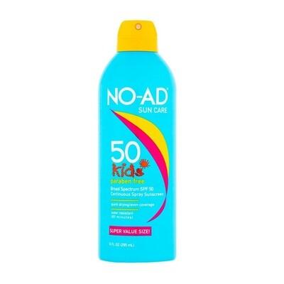 NO-AD Kids Continuous Sunscreen Spray SPF 50, 8.7 Ounce