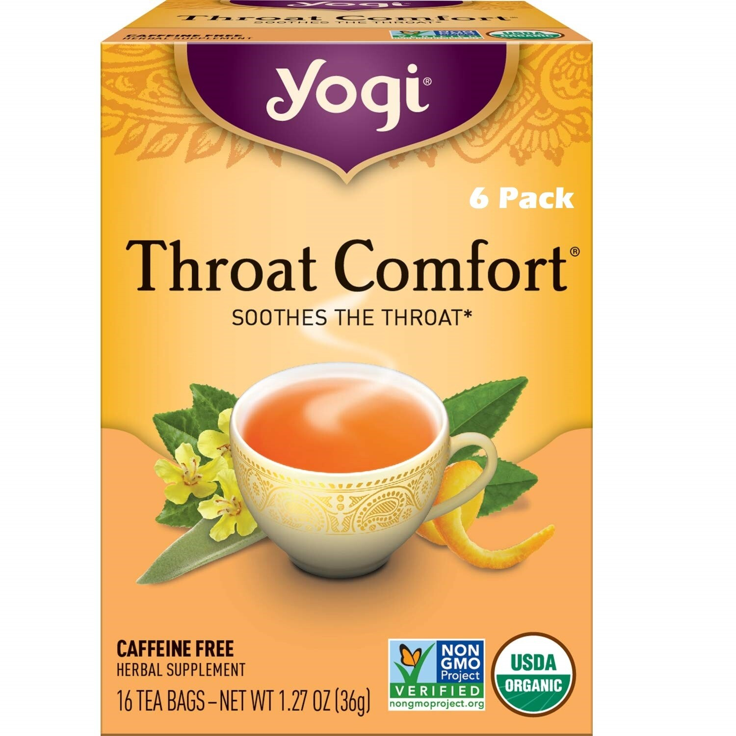 Yogi Tea Throat Comfort Herbal Tea, Soothes the Throat, 16 Bags/box, Pack of 6