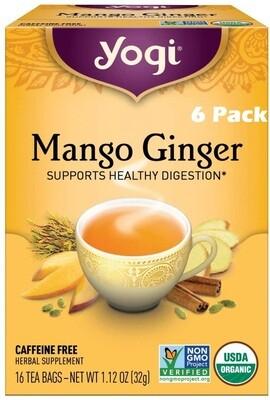 Yogi Mango Ginger Herbal Tea, 16 Bags/box, Pack of 6