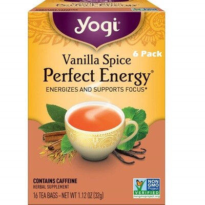 Yogi Vanilla Spice Perfect Energy Herbal Tea, 16 Bags/box, Pack of 6
