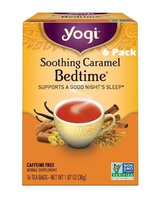 Yogi Soothing Caramel Bedtime Herbal Tea, 16 Bags/box, Pack of 6