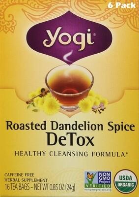 Yogi Roasted Dandelion Spice Detox Tea, 16 Bags/box, Pack of 6