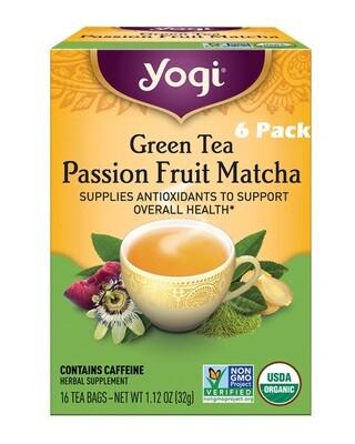 Yogi Green Tea Passion Fruit Matcha Supplies Antioxidants, 16 Bags/box, Pack of 6
