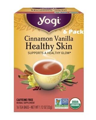 Yogi Cinnamon Vanilla Healthy Skin Herbal Tea, 16 Bags/box, Pack of 6