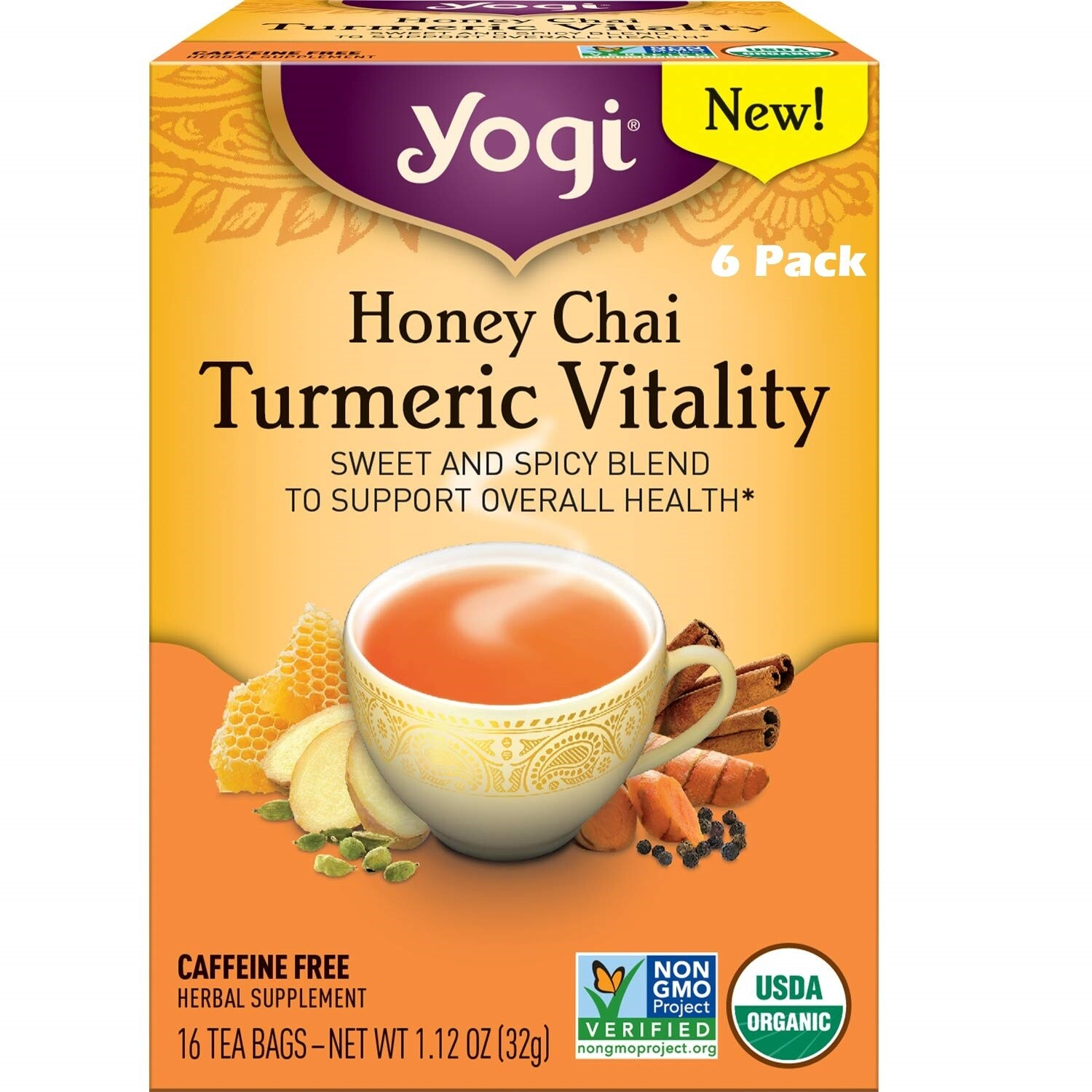 Yogi Honey Chai Turmeric Tea Vitality Sweet and Spicy Blend, 16 Bags/box, Pack of 6