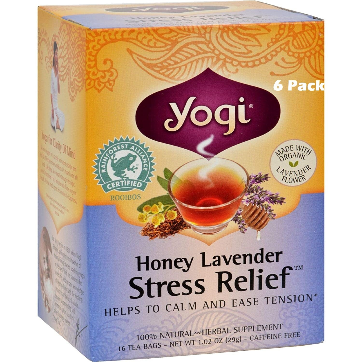 Yogi Herbal Stress Relief Tea, Honey Lavender, 16 Bags/box, Pack of 6