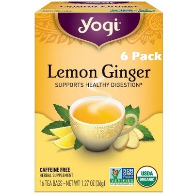 Yogi Lemon Ginger Tea, 16 Bags/box, Pack of 6