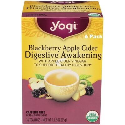 Yogi Blackberry Apple Cider Tea, Digestive Awakening, 16 Bags/box, Pack of 6