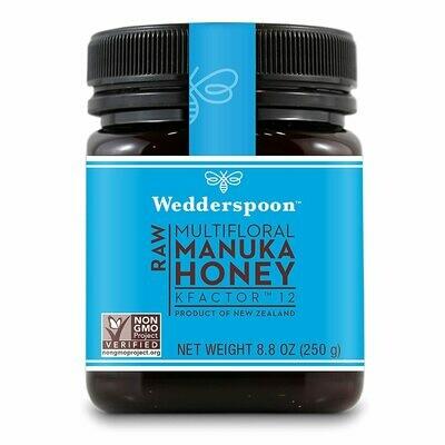 Wedderspoon Raw Manuka Honey KFactor 12, Unpasteurized, 8.8 Ounce