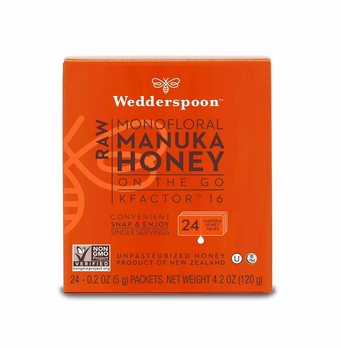 Wedderspoon Raw Manuka Honey KFactor 16, Unpasteurized, 24 Sachets/Pack