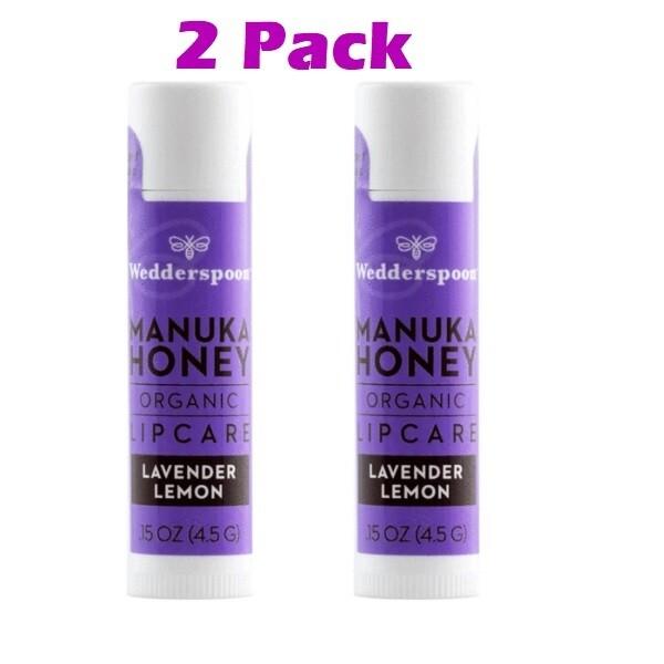 Wedderspoon Organic Manuka Lip Balm, Lavender Lemon, 2 Pack