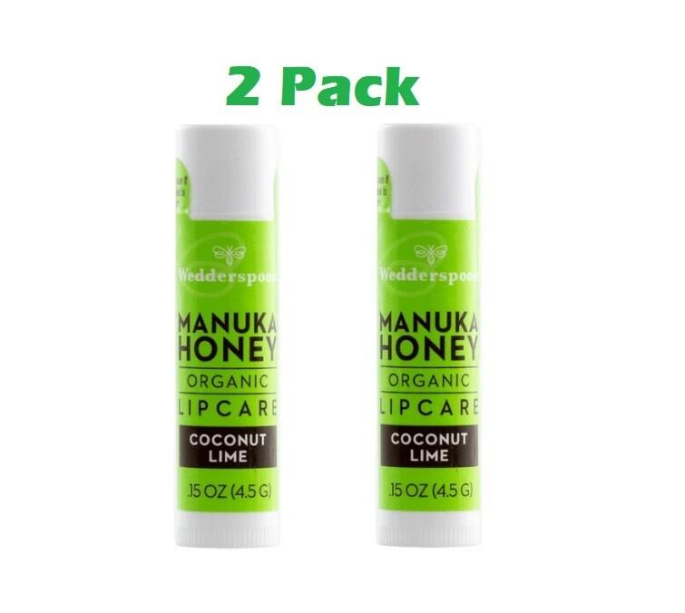 Wedderspoon Organic Manuka Lip Balm, Coconut Lime, 2 Pack