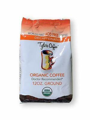 Tyler's Coffee Acid Free Organic Ground, 100% Arabica Full Flavor Decaf, 12 Ounce