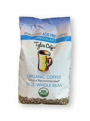 Tyler's Coffee Acid Free Regular Organic Whole Beans Coffee, 12 Ounce