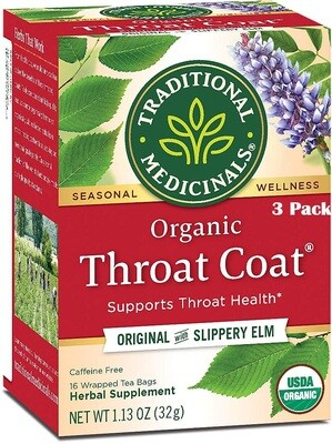 Traditional Medicinals Herbal Tea, Organic, Throat Coat, 16 Tea Bags/Box, Pack of 3
